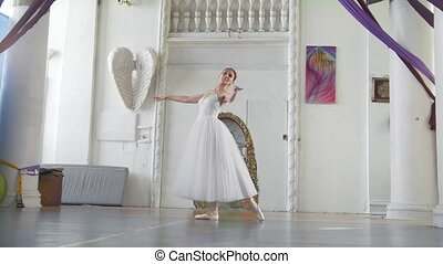 Young attractive ballerina in white tutu posing in spacious...