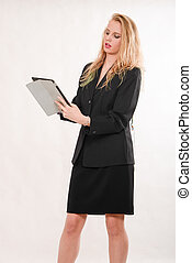 Young attractive blond business woman
