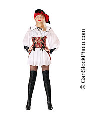 attractive blonde dressed as pirates