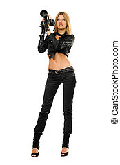 Young attractive blonde holding a photo camera