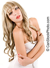 attractive blonde on light background