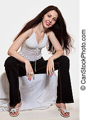 Young attractive brunette caucasian woman