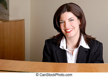 Receptionist - Young Attractive Brunette Receptionist, At A ...