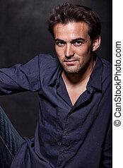 Young attractive brunette twenties caucasian man in ...