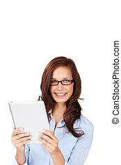 Young attractive brunette woman holding a tablet