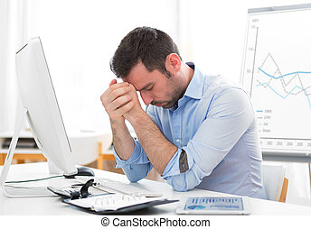 Young attractive business got headache because of burn out
