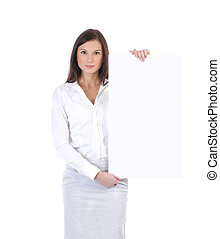 Young attractive business woman with a poster