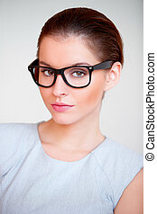 Young attractive business woman with glasses - Portrait of a...