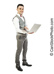 young attractive businessman with laptop on white background