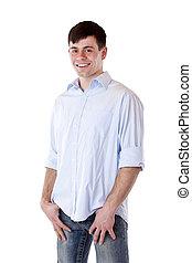 Young attractive casual man smiles happy at camera