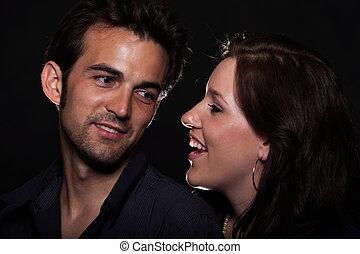 Young attractive caucasian twenties couple