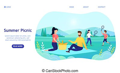 Young attractive family with children on a picnic outdoors. People Relaxing Together in Park, Family love, sensual, grace. Great for landing page, banner, web design, mobile version of the site Vector