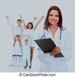 Young attractive female doctor and family isolated on white.