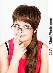 Young attractive girl in funny glasses