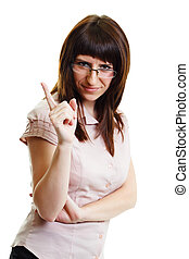 young attractive girl in glasses strict