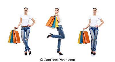 Young, attractive girl with shopping bags