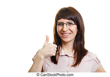 Young attractive happy girl with glasses