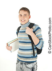 Young, attractive, happy male student with backpack .