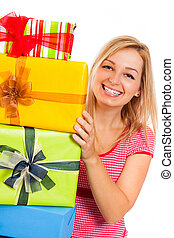 Young attractive happy woman with gifts