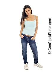 young attractive hispanic woman in casual top and jeans smiling happy and cheerful isolated