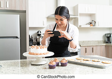 Young Attractive Influencer Photographing At Home