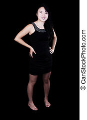 Young Attractive Japanese American Woman In Black Dress