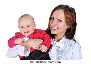 attractive mom with cute baby boy