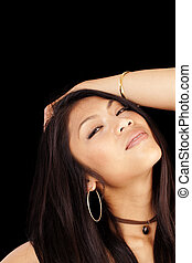 Young Attractive Pacific Islander Woman Portrait Arm
