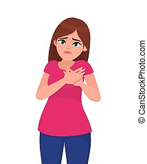 Young attractive painful woman holds hands on chest. Sick woman with heart attack, pain, health problem holding touching her chest with hands. Human emotion concept illustration in vector cartoon.