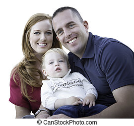 Young Attractive Parents and Child Portrait on White