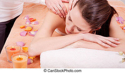 young attractive smilig woman doing wellness spa