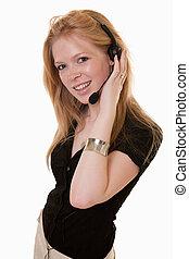 attractive twenties caucasian telecommunications worker -...