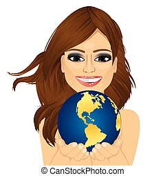 woman holding earth globe with her hands