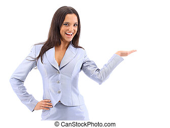 Young attractive woman holds palm for blank ad space