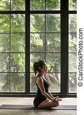 Young attractive woman in Padmasana pose, window background