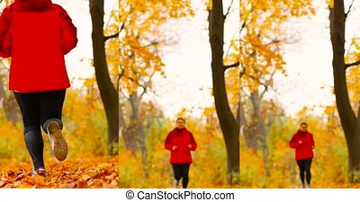 Attractive young girl in sportswear and sneakers runs in the autumn park. Beautiful autumn maple leaves view