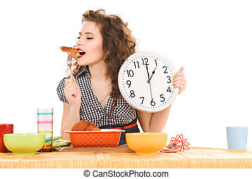 young attractive woman in the kitchen - picture of young...