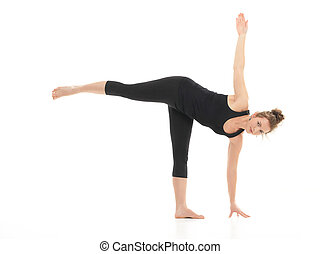 yoga posture demonstration by young blonde woman, dressed in black on white background