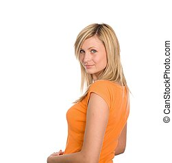 Young attractive woman looking at camera