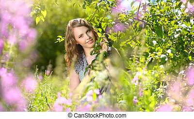 young attractive woman outdoors