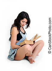 young attractive woman reading a book, white background