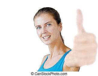 young attractive woman showing thumbs up isolated on white