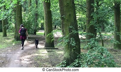 Young attractive woman walking with her dog in the park