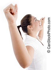 young attractive woman with outstretched arms