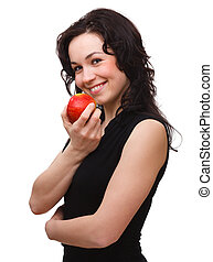 Young attractive woman with red apple