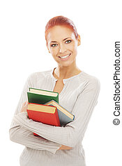 Young attractive woman with the books isolated on white