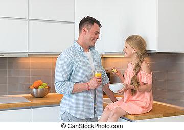 young atya, és, lány, birtoklás, reggeli