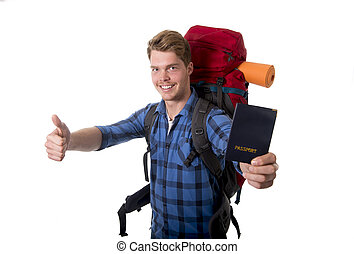 young backpacker tourist holding passport carrying backpack ready for travel and adventure