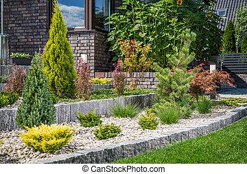 Backyard Rockery Garden with Small Plants