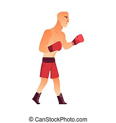 Young, bald Caucasian male boxer in boxing gloves